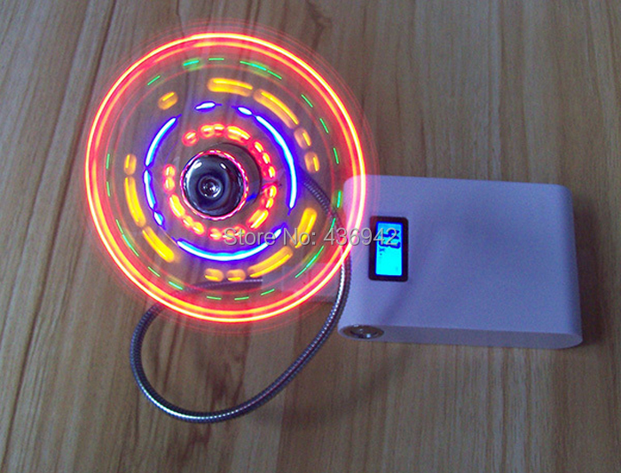 10pcs/lot USB MINI FAN Flexible USB fan mini electric fans with colorful LED lights for laptop computer Low Power Consumption(China (Mainland))