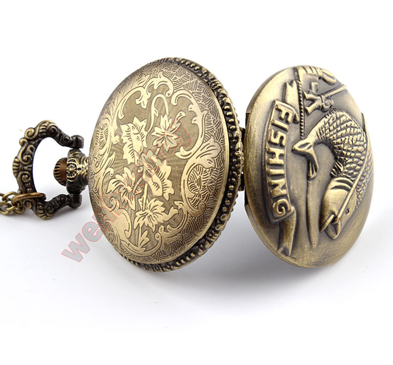 Bronze Fishing Angling Quartz Antique Pocket Watch for Men and Women P108