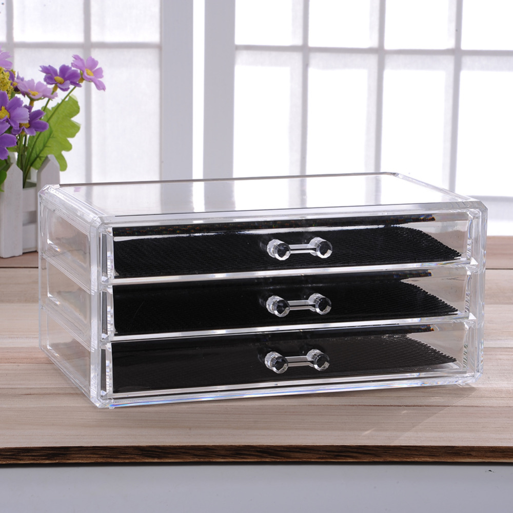 Acrylic Make Up Organizer 3 Drawers Storage Box Clear Plastic Cosmetic Storage Box Organizers Brush Cosmetic Storage Organizer(China (Mainland))