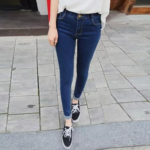 2015 Autumn Fashion Women High Waist Jeans Casual Denim Skinny Plus Size Pencil Pants WKN245(China (Mainland))