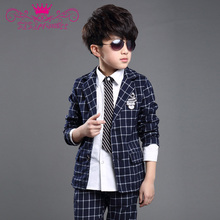 6--16 Years Old Summer Style 2015 Boys Kids Clothes Family Clothing Patchwork Plaid Suit Formal For Party Clothing Set 70(China (Mainland))