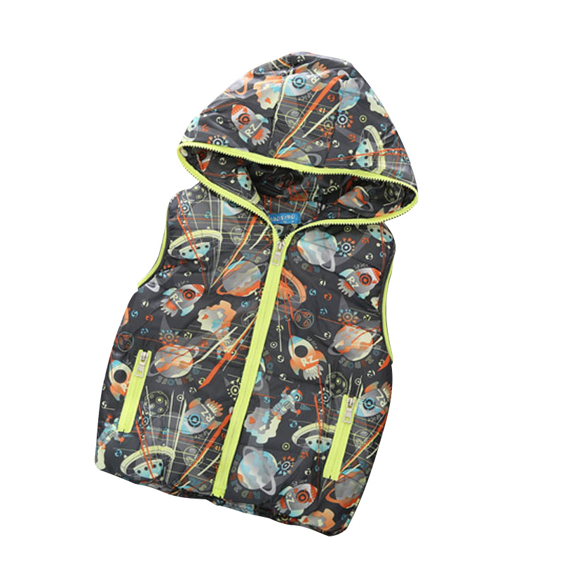 2016 New Arrival Boy Vests Kids Waistcoats Fashion Casual Hooded Character Boy's Outerwear Boys Vest Coats 4T 5T 6T 7T 9(China (Mainland))