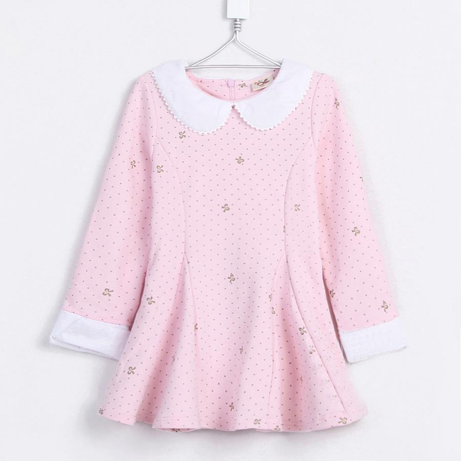 2015 spring and autumn kids polka dot print gentlewomen girls clothing baby child long-sleeve princess dress A0693(China (Mainland))