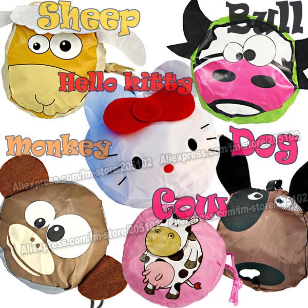 HOT ! 10pcs/lot Fashion cartoon animals folding fabric shopping bag,Sheep/monkey/bull/cow/dog/cat Eco-friendly foldable handbag