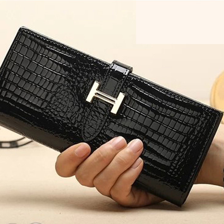 Women Long Fashion Wallets PU Leather Alligator Brand Money Clips 2 Fold Letter Solid Clutch Black Red Brown Purse Female Bags - Alebobo store NO.3