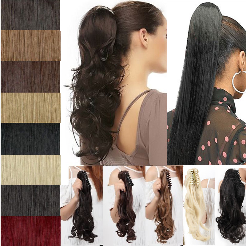"""18"""" 45CM Long Claw on Ponytail Jaw Pony Tail Clip in Hair Extensions Fake Hairpiece False Hair Pony Tails Curly Wavy Synthetic(China (Mainland))"""