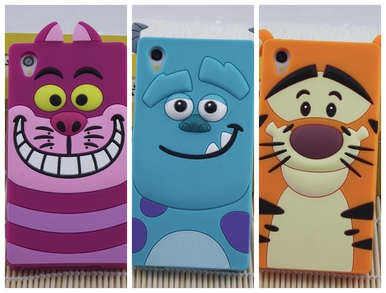 3D Cute Cartoon Cat Dog Tiger Animal Sulley Tigger Marie/Alice Slinky Soft Silicone Cases Cover Sony Xperia Z1 L39H - Rose Angel store