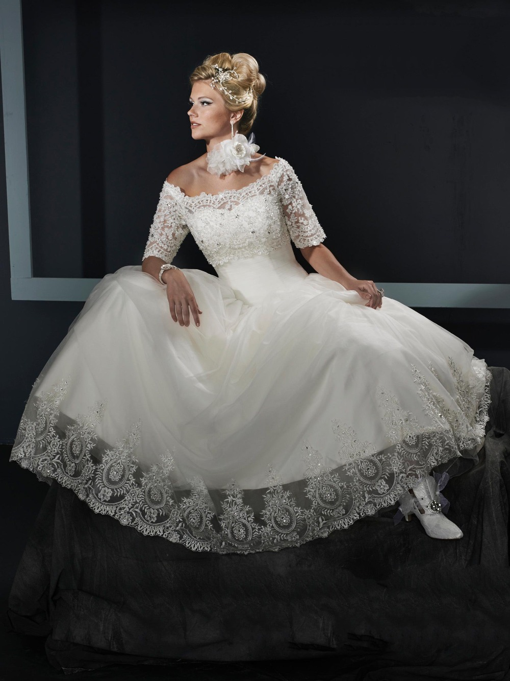 Ball Gown Wedding Dresses Off Shoulder Sleeves : Off the shoulder lace ball gown wedding dress with sleeves