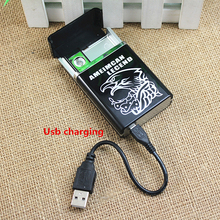 Can be installed 8 cigarettes flameless windproof and rechargeable heating wire electronic usb cigarette case with usb lighter
