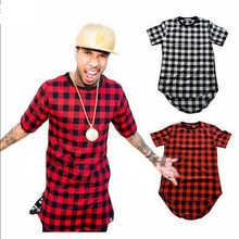 ROYEW Zipper Plaid Hip Hop t shirt men Star Look Man Hiphop Skakeboard Streetwear Swag Tshirt Tops Tees T-shirt Men Tyga Style