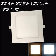 5pcs/lot Ultra thin 3W 4W 6W 9W 12W 15W 18W 24W Square Led Ceiling Recessed Downlight Panel light Led Panel Bulb Lamp SMD 2835(China (Mainland))