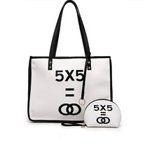 2016 OO 5 Letters Printing Canvas Handbag Streetwear Casual large container shopping Composite bag shoulder bag concise tote(China (Mainland))