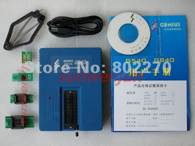 Genius G540 USB Universal Bios GAL Programmer EPROM FLASH 51 AVR PIC MCU SPI support 6000+chips 24/25/93 Cxx with 4 pcs adapters