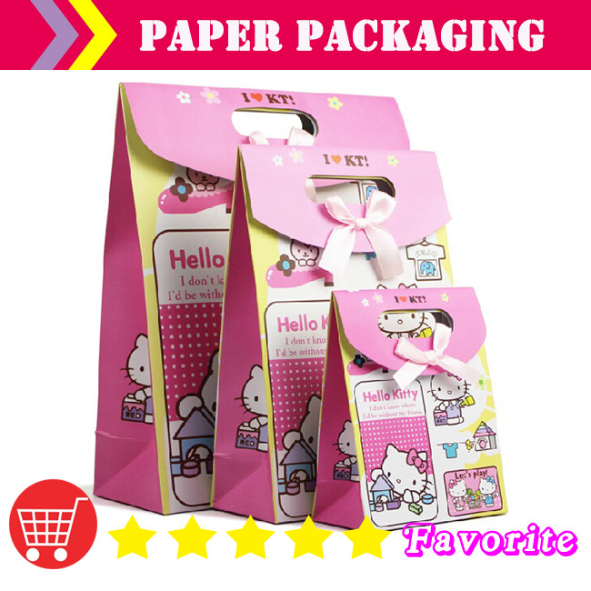 HOT paper cake bag /hello kitty pink bag / caton design/factory paper bags/ lime green bag cooler/packing bag#100164 small(China (Mainland))
