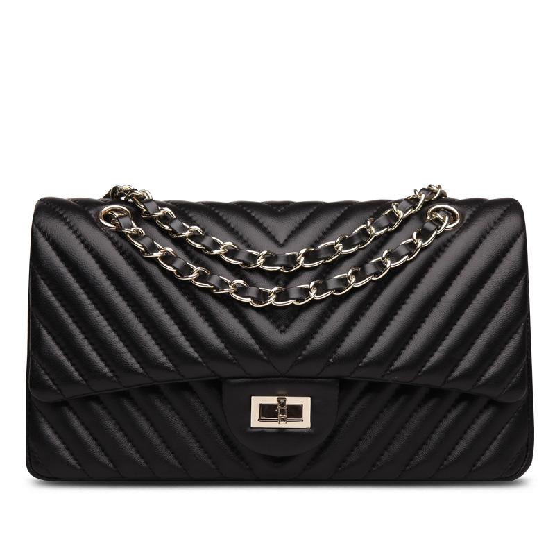 Summer new women handbags chain bag genuine leather sheepskin lady shoulder bags Messenger bag crossbody V letter high quality