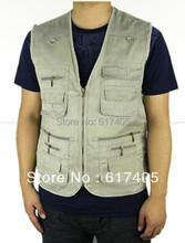 2016 Summer Men's Hot sale Plus Size 4XL 5XL Jacket Denim Vest Outdoor Casual Multi-pocket Waistcoat Men Free Shipping(China (Mainland))