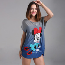 2016 Plus size Minnies T Shirt Dress Big Size Women Mouses Printing T shirt Long Style Loose Casual Tees Sweet Minnie Tops(China (Mainland))