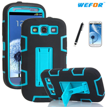 Shockproof Hybrid Armor Rubber Heavy Duty Case Cover For Samsung Galaxy S3 i9300 Stand Phone Cases w/Screen Protector+Stylus Pen(China (Mainland))