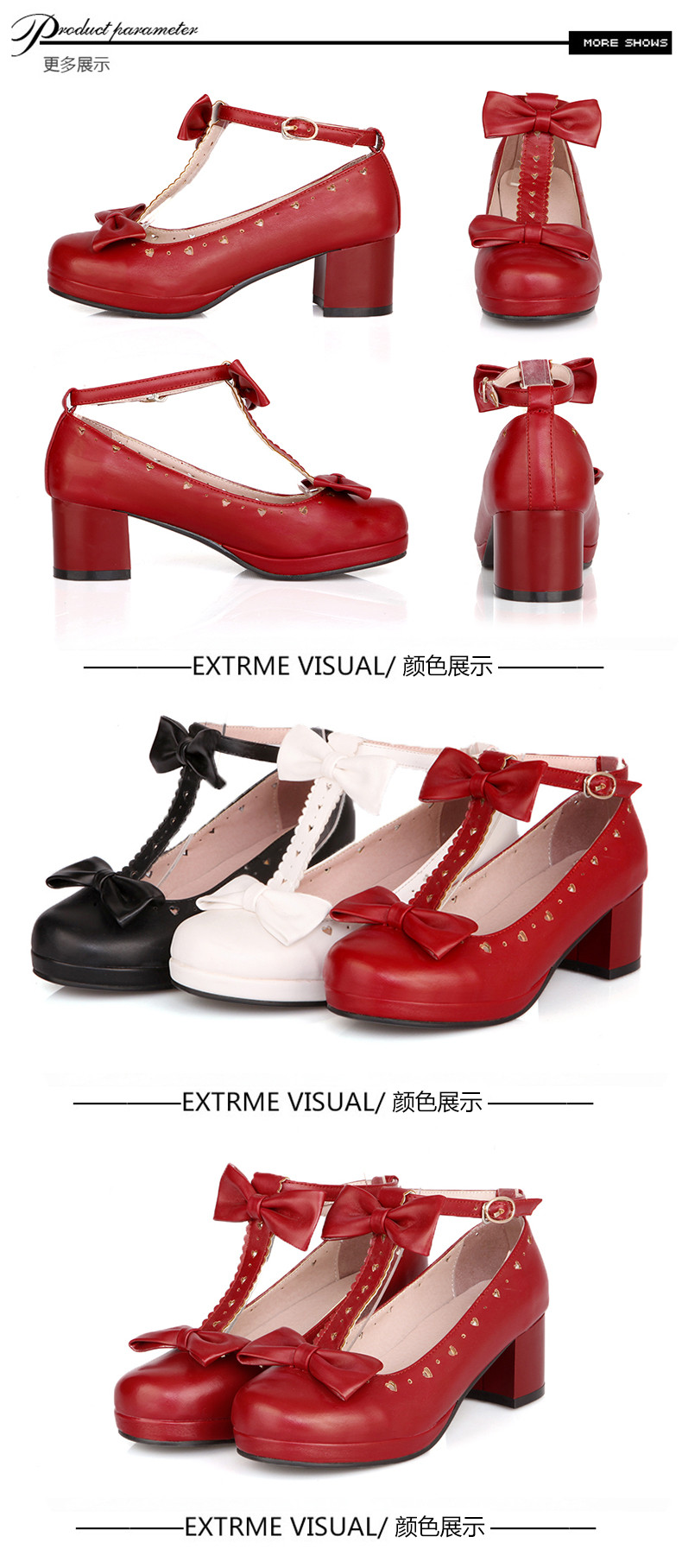 Fresh sweet Lolita Lolita Japanese bow thick crust thick with black and white red COS female student shoes tide Plus size 34-43