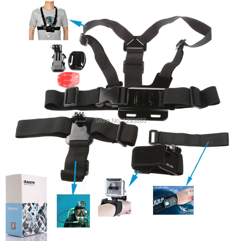 Gopro Accessory Kit 5 in1 Velcro Belt+Elastic head strap+chest strap+J-hook and flat bases with 3M sticker+Elastic wrist strap(China (Mainland))