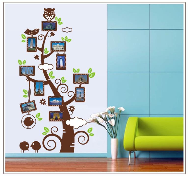DIY Large 60*110cm Owl Photo Frame Tree Vinyl Wall Decals for Living Room Decorative Stickers Shelf Decoration Home Decor(China (Mainland))