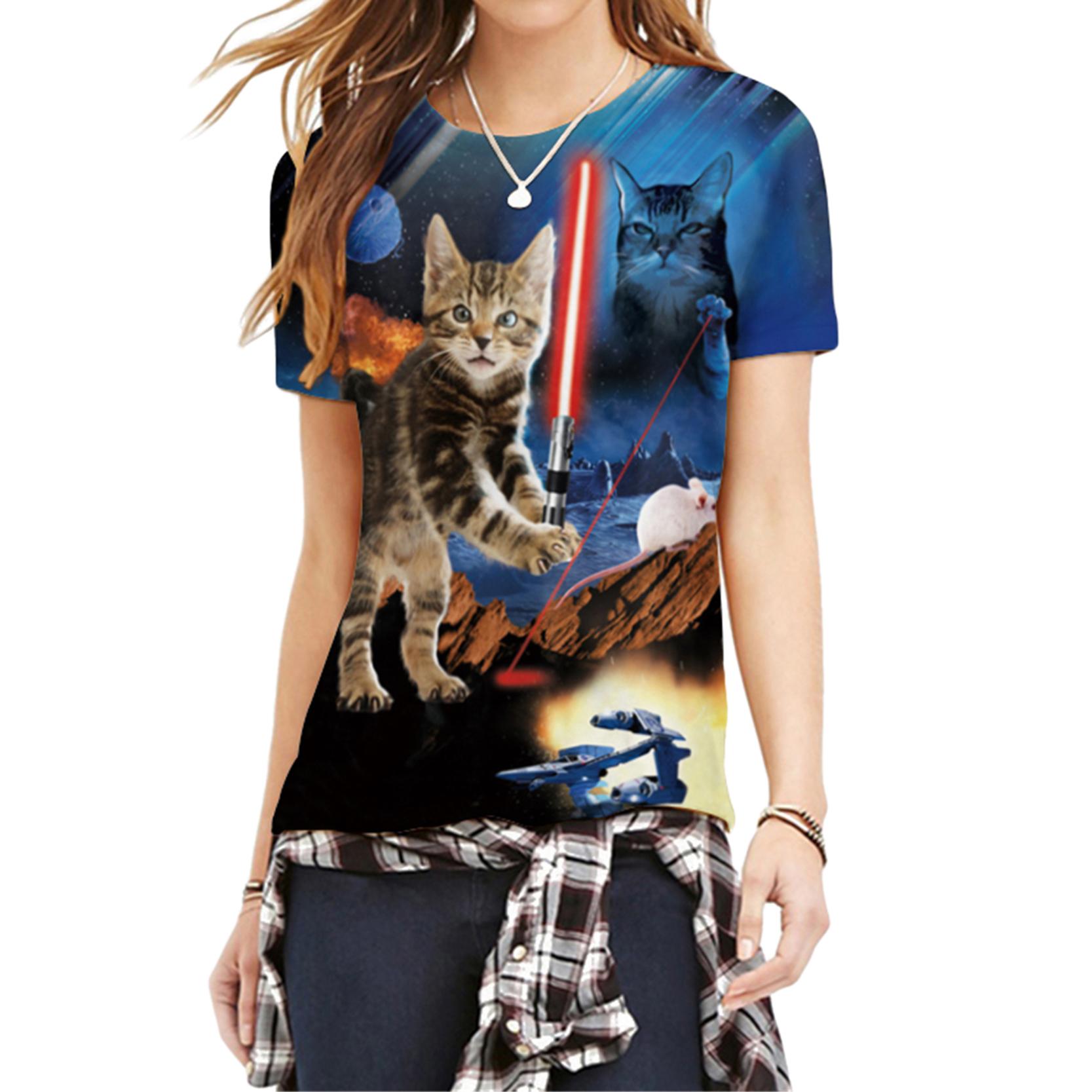 Shining Sword Animal Pattern Lunky Women T-Shirts Cool Cats Wars New Fashion 3D Cartoon Print T-shirt Tops Tees Clothing(China (Mainland))
