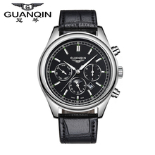 Free Shipping Watches Men Top Brand Luxury GUANQIN New Fashion Quartz Waterproof Leather Strap Mens Watches Wristwatches