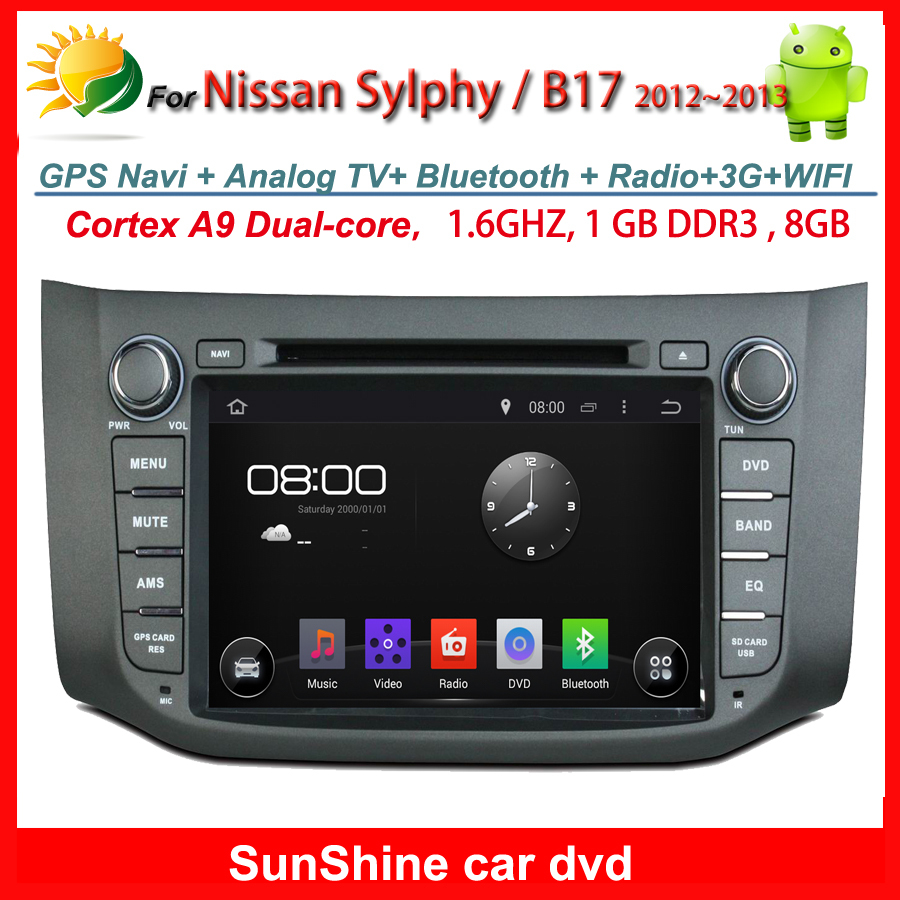 Prue android 4.4 touch screen car multimedia player for Nissan Sylphy dvd radio gps navigation 2 din car stereo B17 2012 2013(China (Mainland))