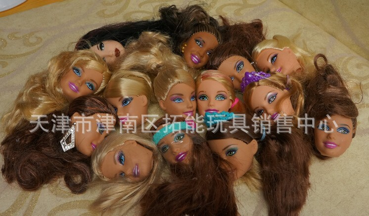 Free Transport,Lady Birthday Present 10pcs authentic doll heads doll equipment  For Barbie Doll