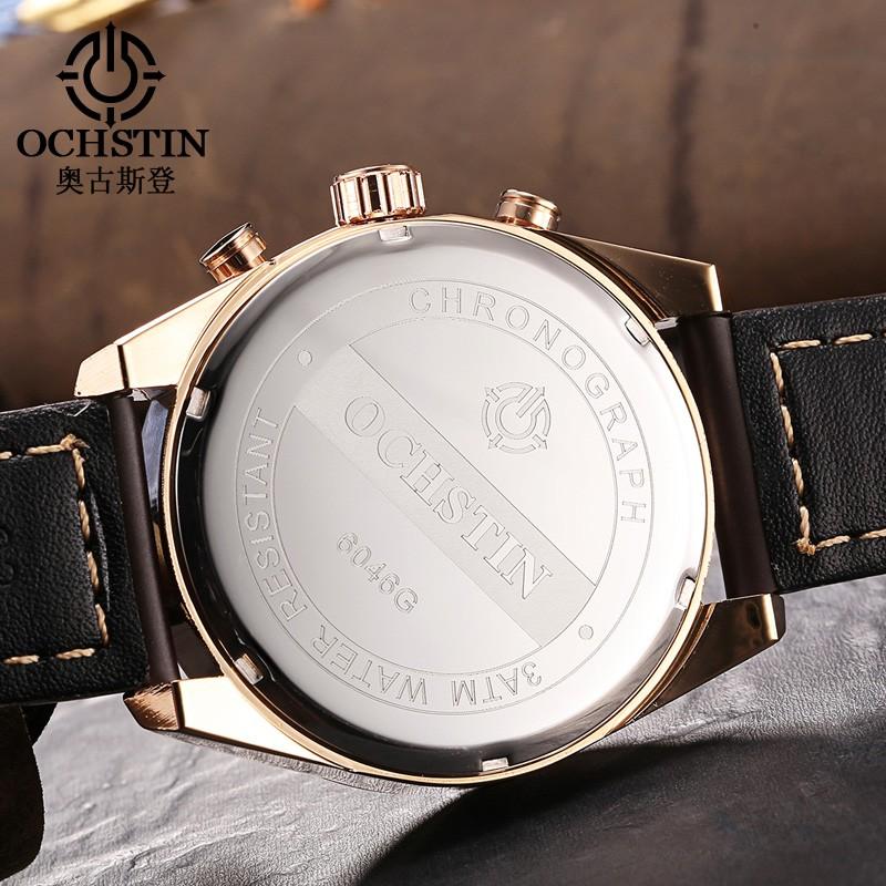 2016 Luxury Brand OCHSTIN Кварцевые Часы Мужчины аналоговый хронограф Часы Мужские Спортивные Военные часы Кожаный Ремешок Мода Наручные Часы