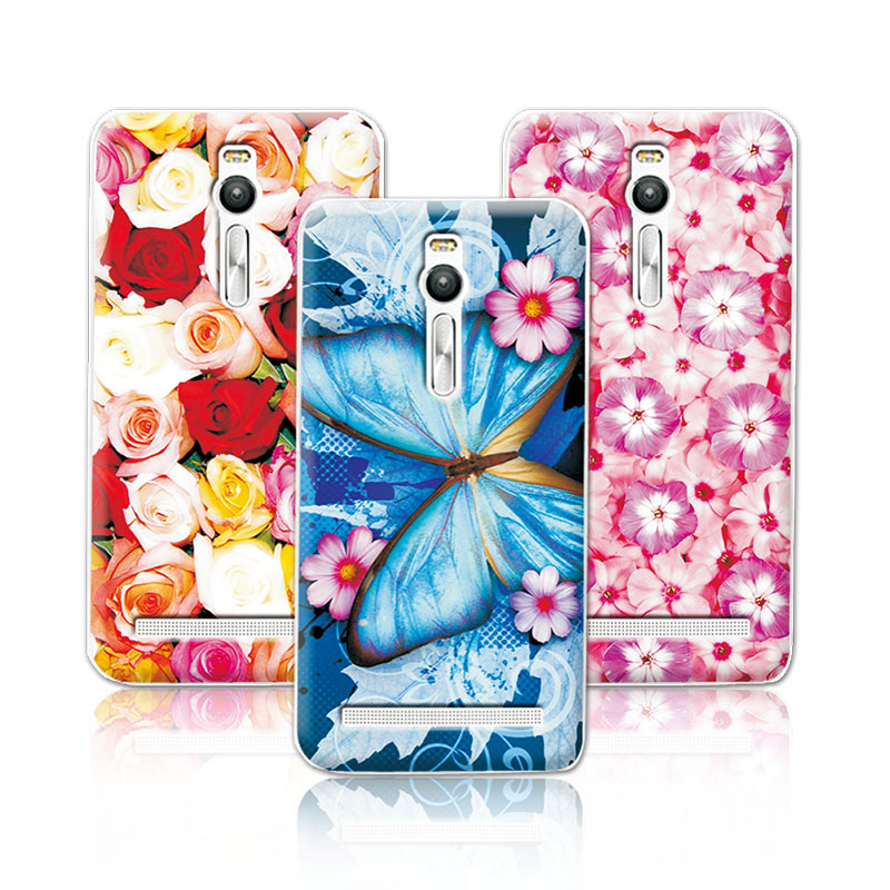 Floral Art Painted Flower Phone Case Asus Zenfone 2 ZE551ML ZE550ML (5.5 inch) Cover 2+Free Stylus Gift  -  Rainbow Digital Mall store