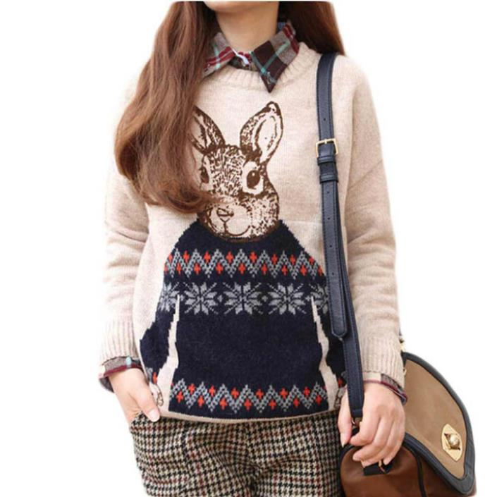 Fantastic Fashion Women Animal Rabbit Print Knitted Casual Loose Pullover Sweater(China (Mainland))
