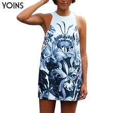 YOINS 2016 New Arrival Sexy Sleeveless Floral Print Mini Dress Woman Fashion Summer Dresses Party Night Clubwear Plus Size