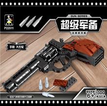 Ausini P22511 Revolver pistola arma de energía de armas armas modelo 1:1 3D de ladrillo modelo pistola de bloques de construcción de juguete de regalo conjunto para los niños