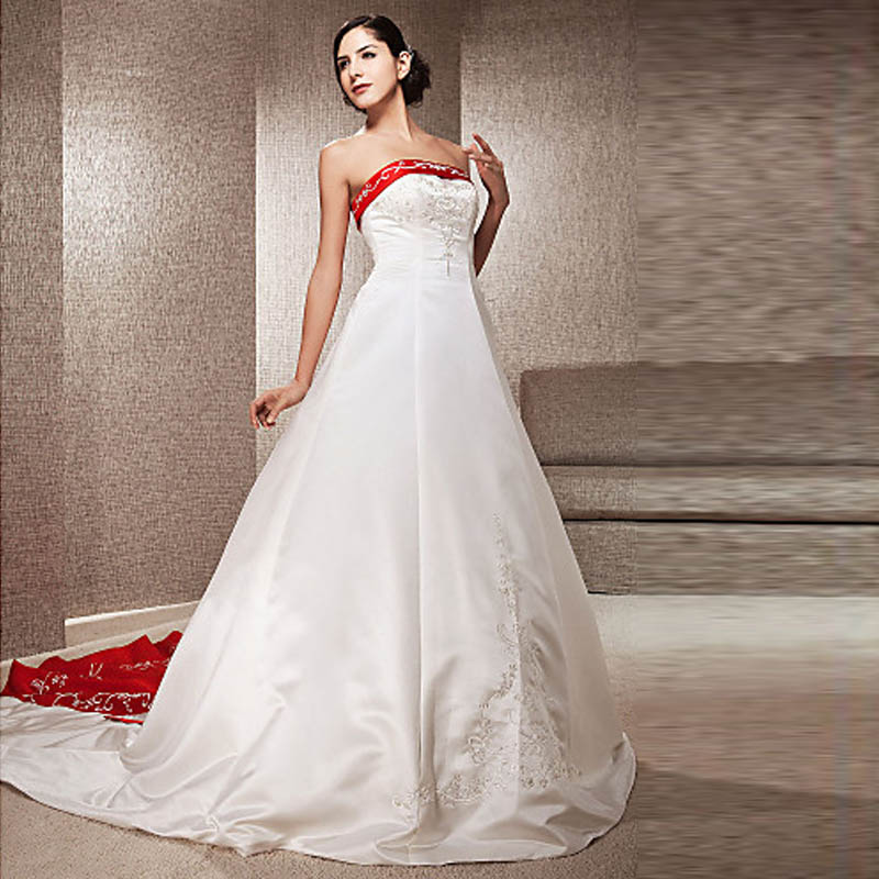 Hot sale white and red wedding dresses vintage bride for Red and black wedding dresses for sale