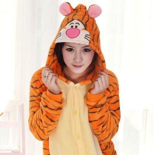 2015 fashion cartoon tigger sleep clothes pajama sets cute Novelty home tiger sleepwear Pajamas women robe free shipping(China (Mainland))