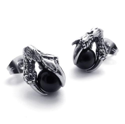 12*8 mm Fashion unique stainless steel jewelry casting black/red/blue natural stone dragon claw stud earrings 075303 04 05(China (Mainland))