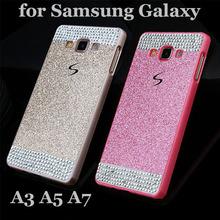 Diamond Bling Glitter Hard Case For Samsung Galaxy A3 A5 A7 Luxury Hot-Sale Plastic Crystal rhinestone Back Cover Capa Para hood(China (Mainland))