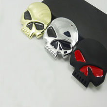 Chrome 3 Colors 3D Skull Bone Car Motor Bike Metal Emblem Badge Decals Sticker(China (Mainland))