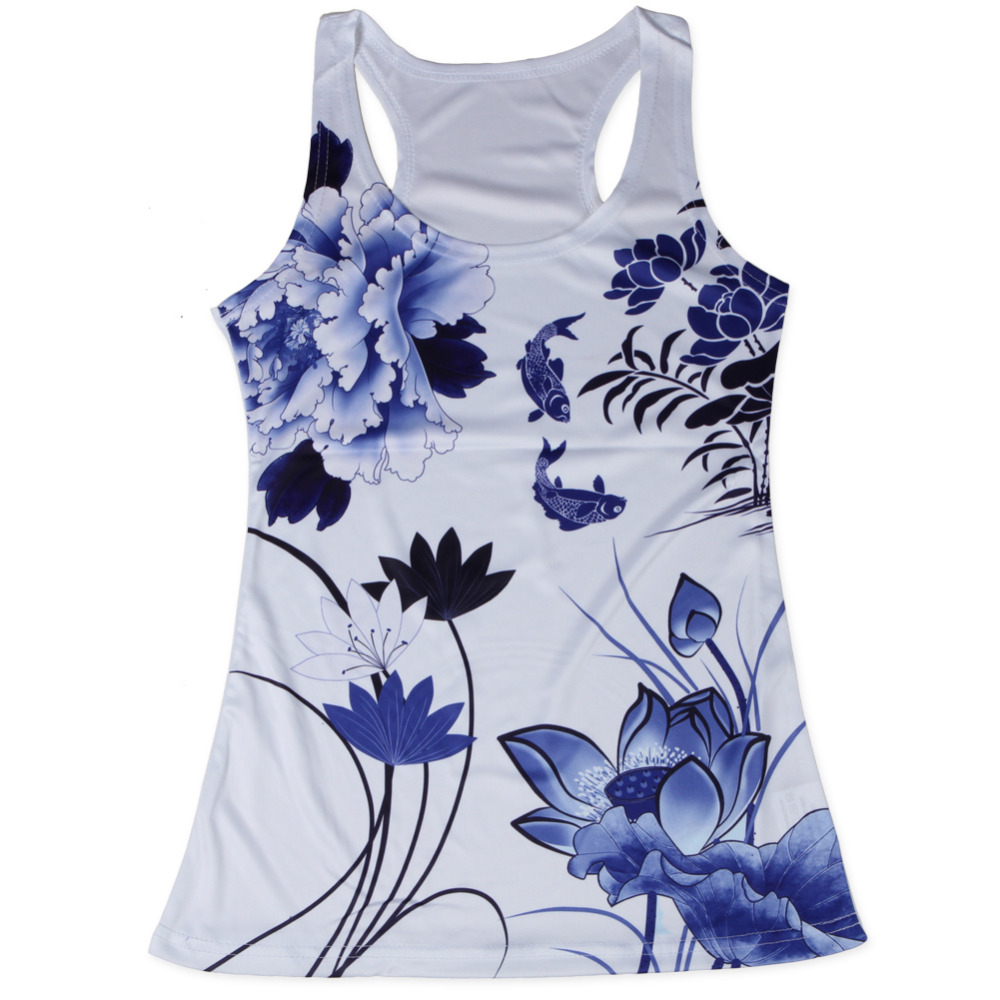 Unique flowers and fish women tank top o neck sleeveless for Fish tank top