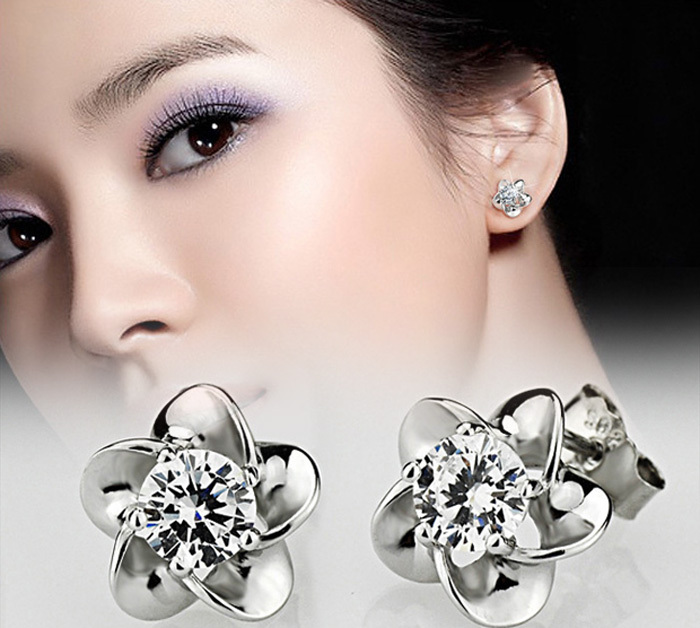 Women's Allergy Free Silver Plated boucle d'oreille Crystal Zircon Flower Stud Earrings Fashion Jewelry Summer Style New A1504a - Redavid Store store