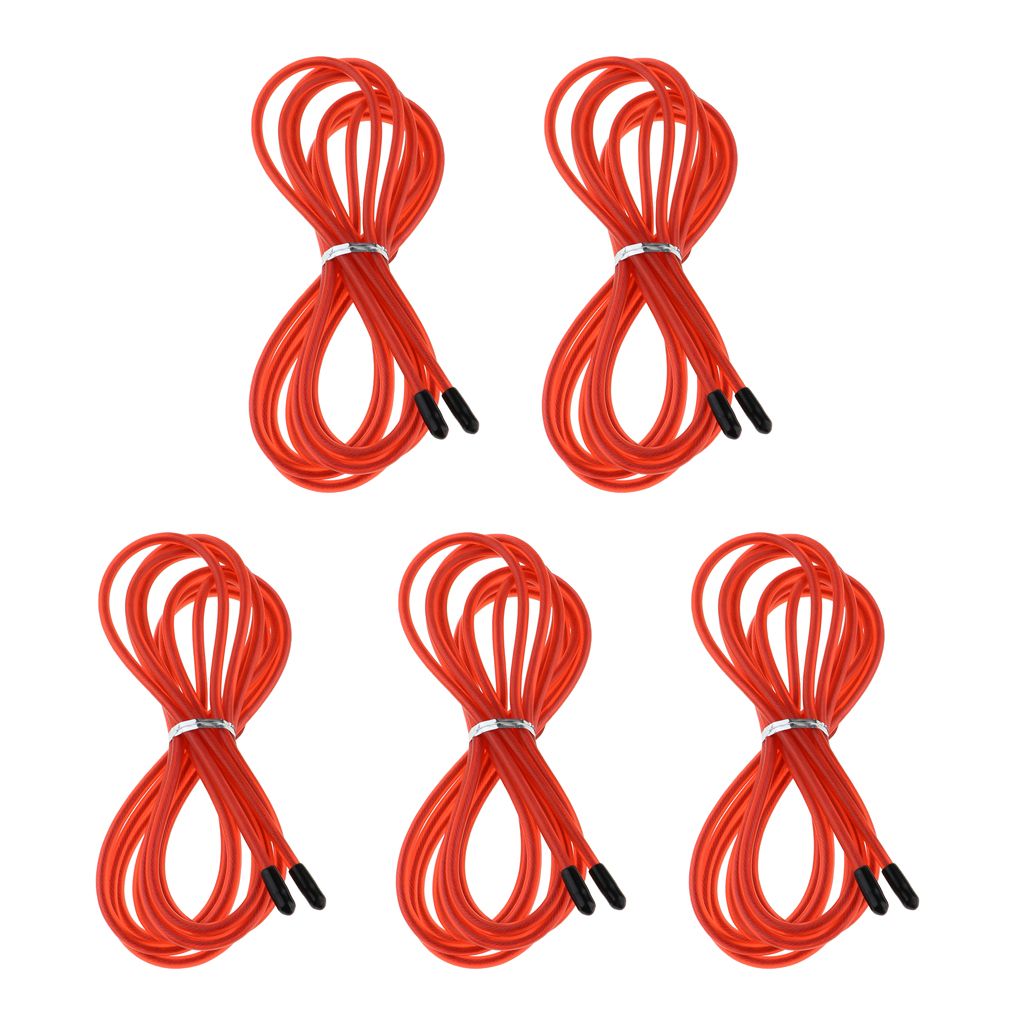 5 Pack Heavy Speed Jump Rope Replacement Cable PVC Stainless Steel Cable Resistant 10ft Long Skipping Rope Replacing