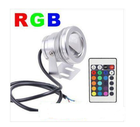 10W 12V RGB LED Flood light Underwater led Light/ lamp Waterproof IP65 Swimming Fountain Pool Light With24 Key Remote Controller(China (Mainland))