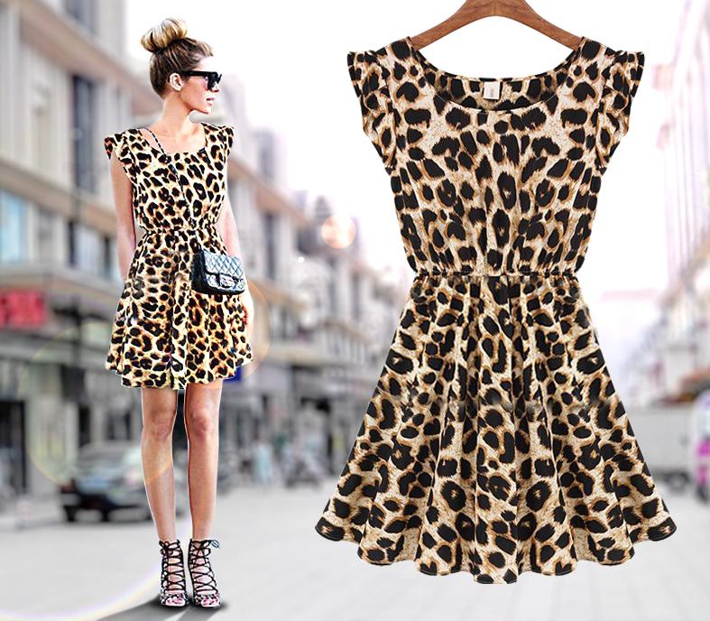 New Arrival Spring Summer Women Casual Dress Leopard Print Microfiber Summer Dress Women Ruffles Dresses(China (Mainland))