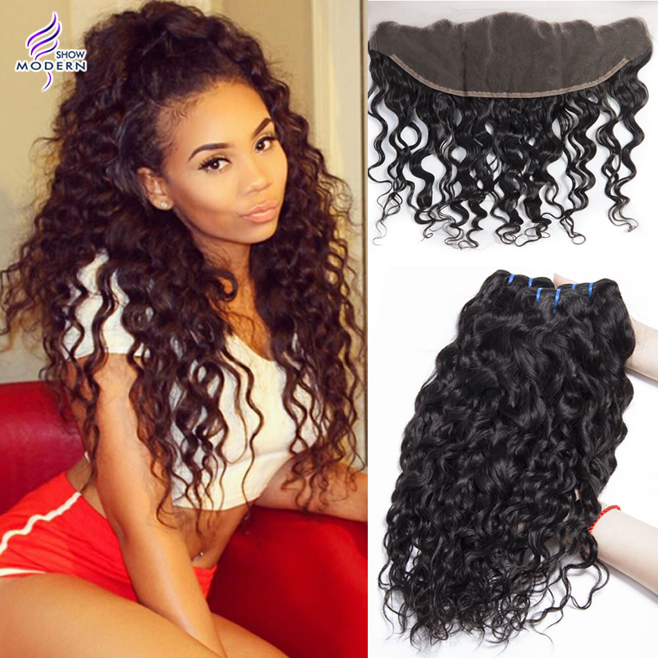 Ear To Ear Lace Frontal Closure With Bundles Malaysian Virgin Hair With Closure Water Wave 13x4 Lace Frontal With Bundles<br><br>Aliexpress