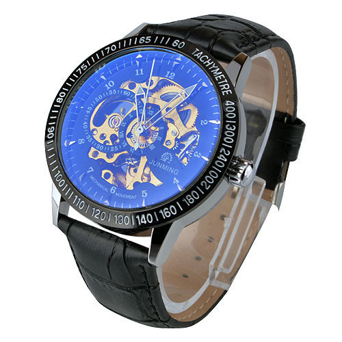 New stained glass waterproof hollow male watch fashion leather men watch colors(China (Mainland))