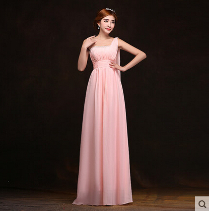 One Shoulder Beading Evening Dresses A-line Floor-lenth Long Chiffon Dress Purple Prom - KC International Fashion Store store