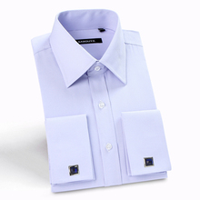2016 Mens Luxury French Cuff Solid Color Dress Shirts Peaked Collar Long Sleeve Slim Fit Casual Shirt Man (Cufflinks Included)(China (Mainland))