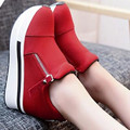 Spring summer Wedges Women Boots 2017 Platform Shoes Woman Creepers Slip On Ankle Boots Fashion Flats