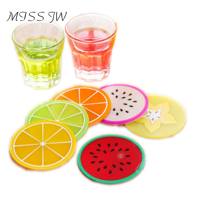 2015 New Fashion 6pcs/Set Cute Colorful Fruits Silicone Cup Coasters Cushion Holder Drink Coaster Placemat Mat Home JW0027(China (Mainland))
